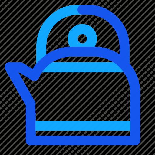 blue, kettle, set, winter icon