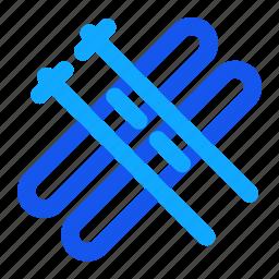 blue, set, ski, winter icon