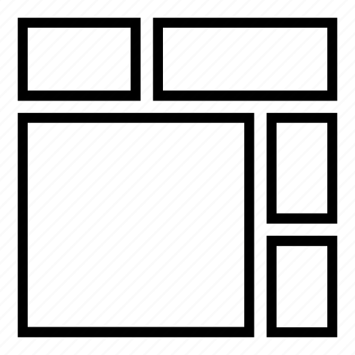 boxes, desktop, fluid, grid, layout, reflow, responsive, tablet, tiles, wireframe icon