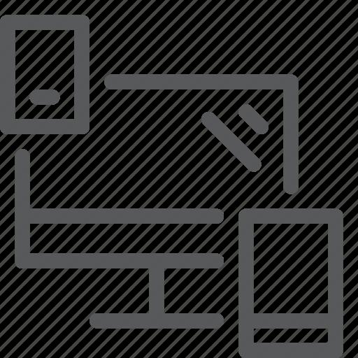imac, mobile, multi, platform, screen, share, smartphones, window icon