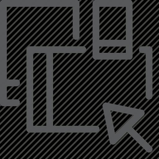 cursor, mobile, multi, platform, screen, share, smartphones icon