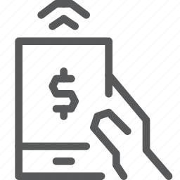 cash, finance, hand, mobile, money, payment, smartphone, wireless icon