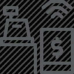 cash, cashier, finance, mobile, money, payment, register, wireless icon