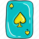 ace, card game, casino game, gambling, playing cards, poker, spade icon