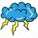 cloud, cloudy weather, heavy thunder, thunder, thunderstorm icon