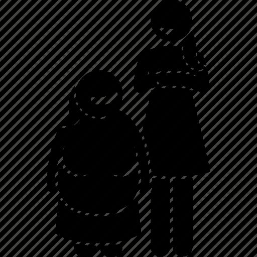 body, female, girl, opposite, short, tall, woman icon