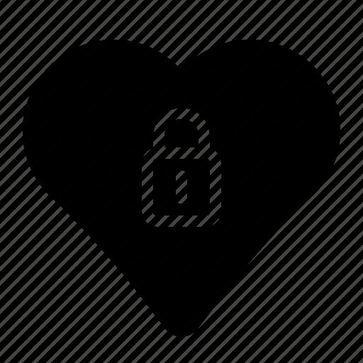 close, heart, locked, love icon