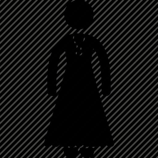blouse, clothe, dress, fashion, female, lady, long icon