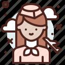 attendant, avatar, flight, job, profile icon