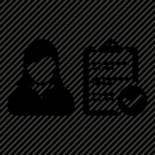 clipboart, list, survey, task, todo, user, woman icon