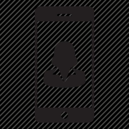 avatar, business, mobile, person, profile, smartphone, woman icon