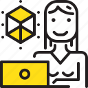 computer, designer, dimention, woman, worker, yellow icon