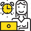 alarm, clock, computer, time, woman, worker, yellow icon