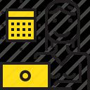 calendar, computer, woman, worker, yellow icon