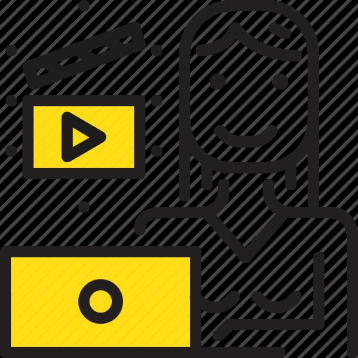 cinema, computer, editor, woman, worker, yellow icon