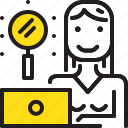 computer, search, woman, worker, yellow icon