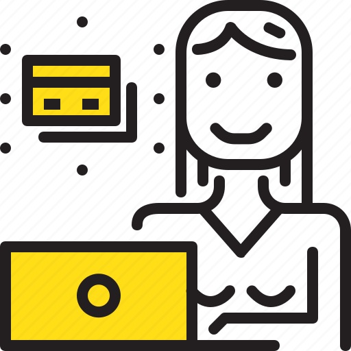 card, computer, credit, online, woman, worker, yellow icon