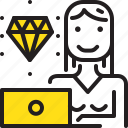 computer, diamond, woman, worker, yellow icon