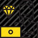 computer, diamond, woman, worker, yellow icon