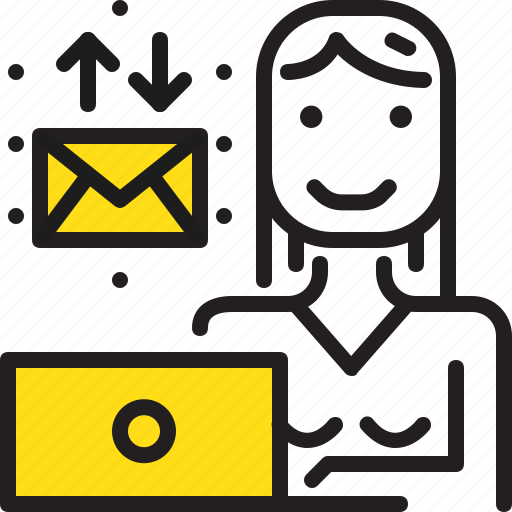 computer, email, woman, worker, yellow icon