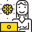 computer, gear, woman, worker, yellow icon