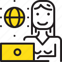 computer, internet, online, woman, worker, yellow icon