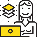 computer, graphic, layer, woman, worker, yellow icon