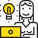 computer, ldeas, lightbube, woman, worker, yellow icon