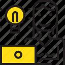 computer, ldeas, lightbube, woman, worker, yellow icon