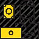 computer, dollar, money, online, woman, worker, yellow icon