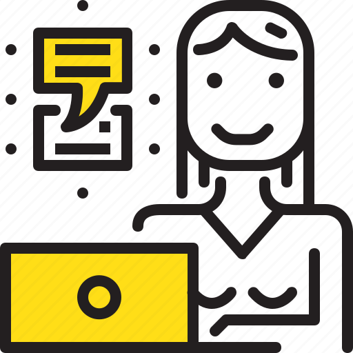 chat, computer, talk, woman, worker, yellow icon