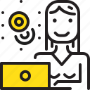 coins, computer, money, woman, worker, yellow icon
