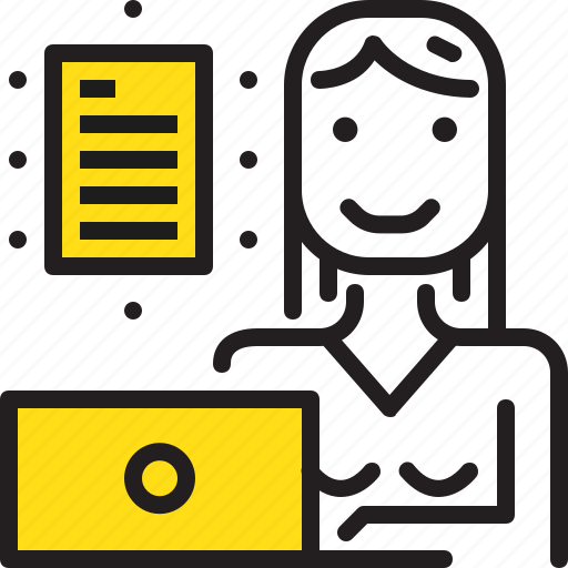 computer, document, paper, woman, worker, yellow icon