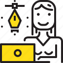 computer, designer, graphic, pen, tool, woman, worker icon