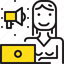 computer, marketing, speakerphone, woman, worker, yellow icon