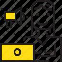 computer, marketing, speakerphone, woman, worker, yellow icon