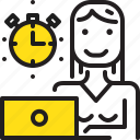 computer, stopwatch, time, woman, worker, yellow icon