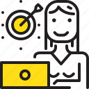 arrow, computer, dart, online, tarket, woman, yellow icon