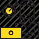 arrow, computer, dart, online, tarket, woman, yellow icon