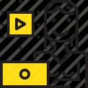 clip, computer, online, video, woman, worker, yellow