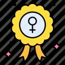 female, symbol, award, badge, copper, reward