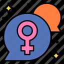 bubble, chat, communication, female, message, text