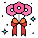 bouquet, flowers, gift, roses icon