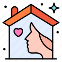 woman, people, house, roof, wife icon