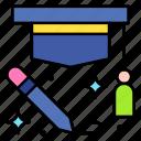 graduate, cap, student, education, pen