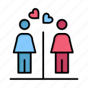 couple, day, love, signs, washroom, women, womens icon