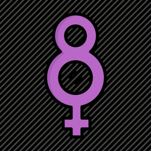 day, eight, female, women, womens icon