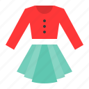 clothes, fashion, female, long sleeve shirt, skirt, women, women's clothing icon