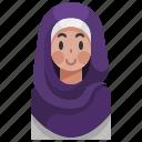 headdress, hijab, islam, muslim, woman, young icon