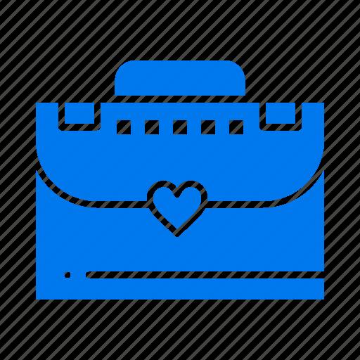 bag, briefcase, love icon